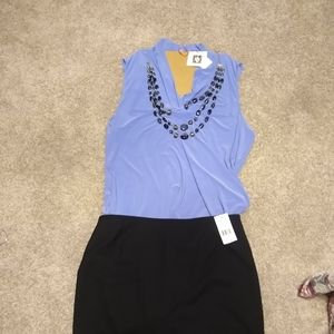 Anne Klein sky blue dress blouse